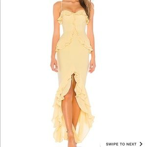 Lovers + Friends Melissa Yellow Gown Ruffle Dress